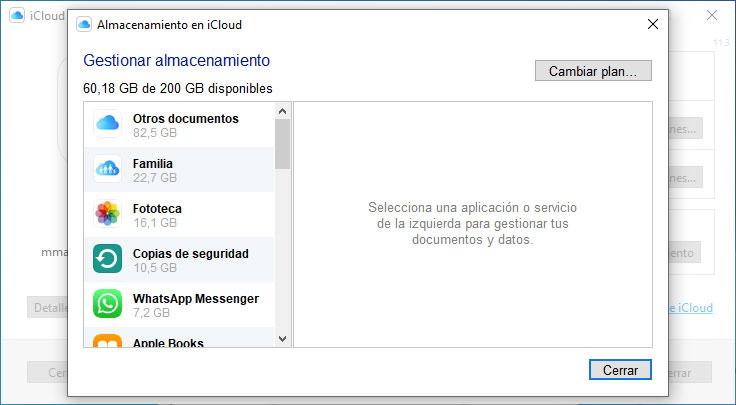 Gestionar plan de iCloud de Windows
