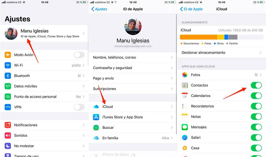 Pasar contactos de iPhone a iPhone a través de iCloud