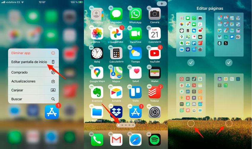 Eliminar pantallas completas de apps