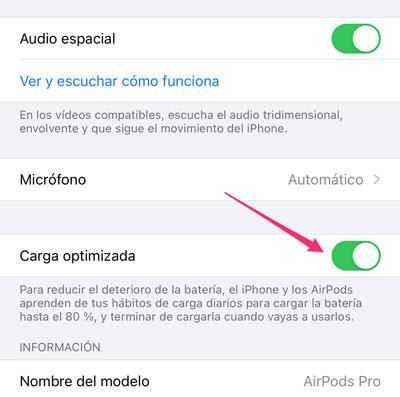 Ajuste de activación de la carga optimizada de la batería de los AirPods de Apple