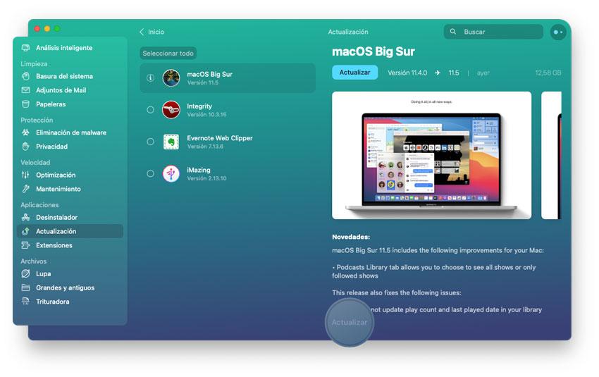 Actualizar todas las apps con CleanMyMac X