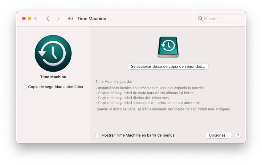 Copia de seguridad en Time Machine