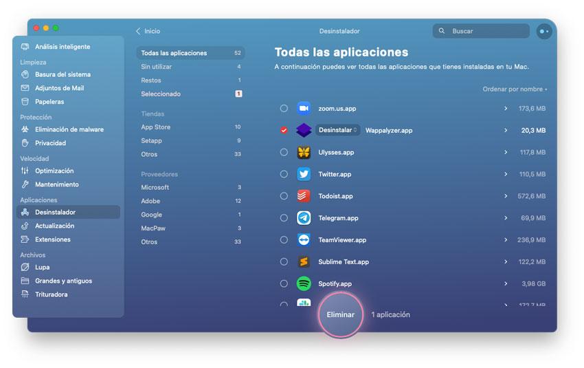 Desinstalar aplicaciones en Mac