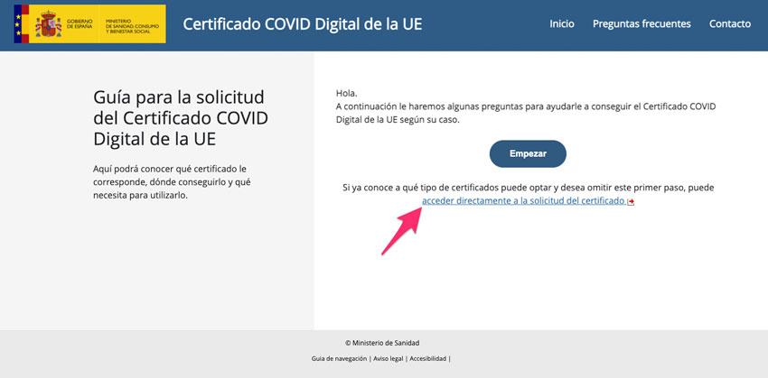 Acceder a la solicitud del certificado