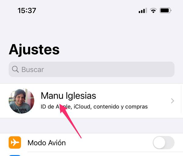 Ajustes de iCloud en iPhone
