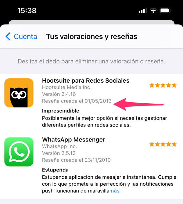Borrar una valoración de la App Store rápidamente