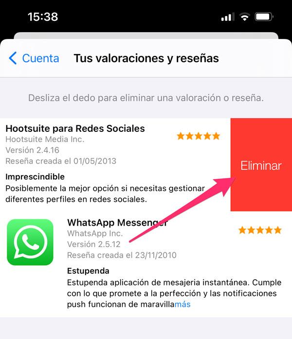 Confirmar borrar reseña App Store