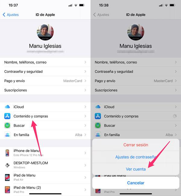 Acceso al apartado de Contenido y compras de un Apple ID