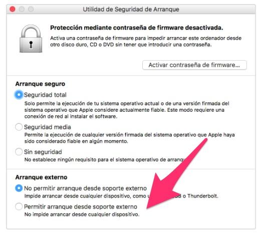 Permitir arranque desde soporte externo en Mac Intel