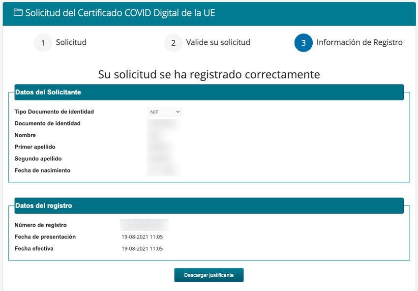 Solicitud de certificado COVID completa
