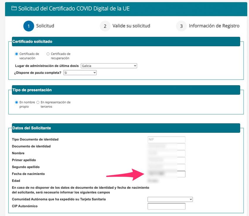 Formulario de solicitud del certificado COVID
