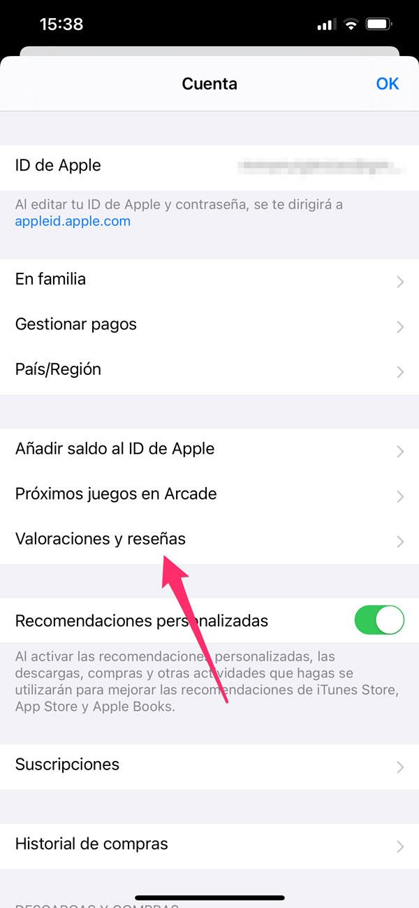 Valoraciones y Reseñas del Apple ID