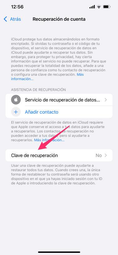 Ajustes de clave de recuperación de iCloud