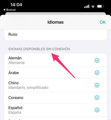 Idiomas disponibles sin conexión en un iPhone