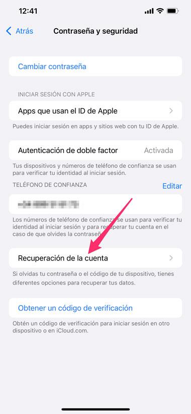 Recuperación de cuenta de los ajustes de iCloud
