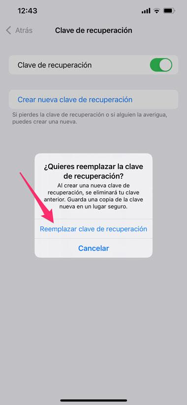Reemplazar clave de recuperación en los ajustes de iOS