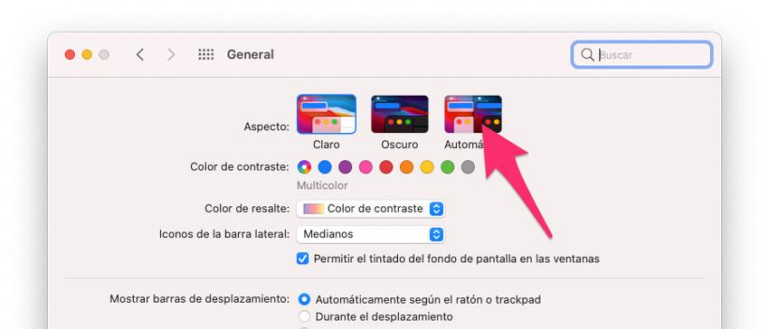 Modo Oscuro automático en Mac