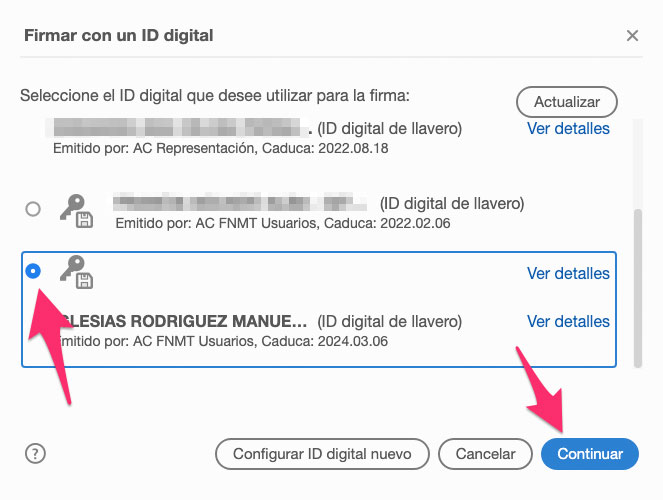 Seleccionar firma digital